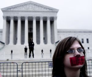Pro-life protester in front of Supreme Court