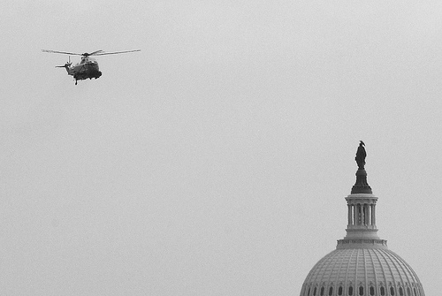 Helicopter over Capitol dome